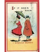 COUPLE UMBRELLA PARASOL IF IT DOES RAIN POSTCARD - $6.83