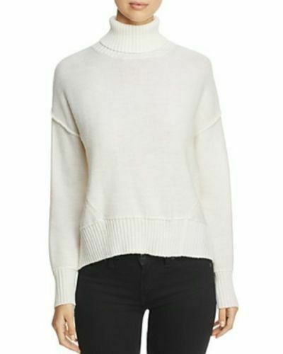 NEW H. ONE Split Off White Back Turtleneck Acrylic Wool Knit Sweater XL MSRP $88
