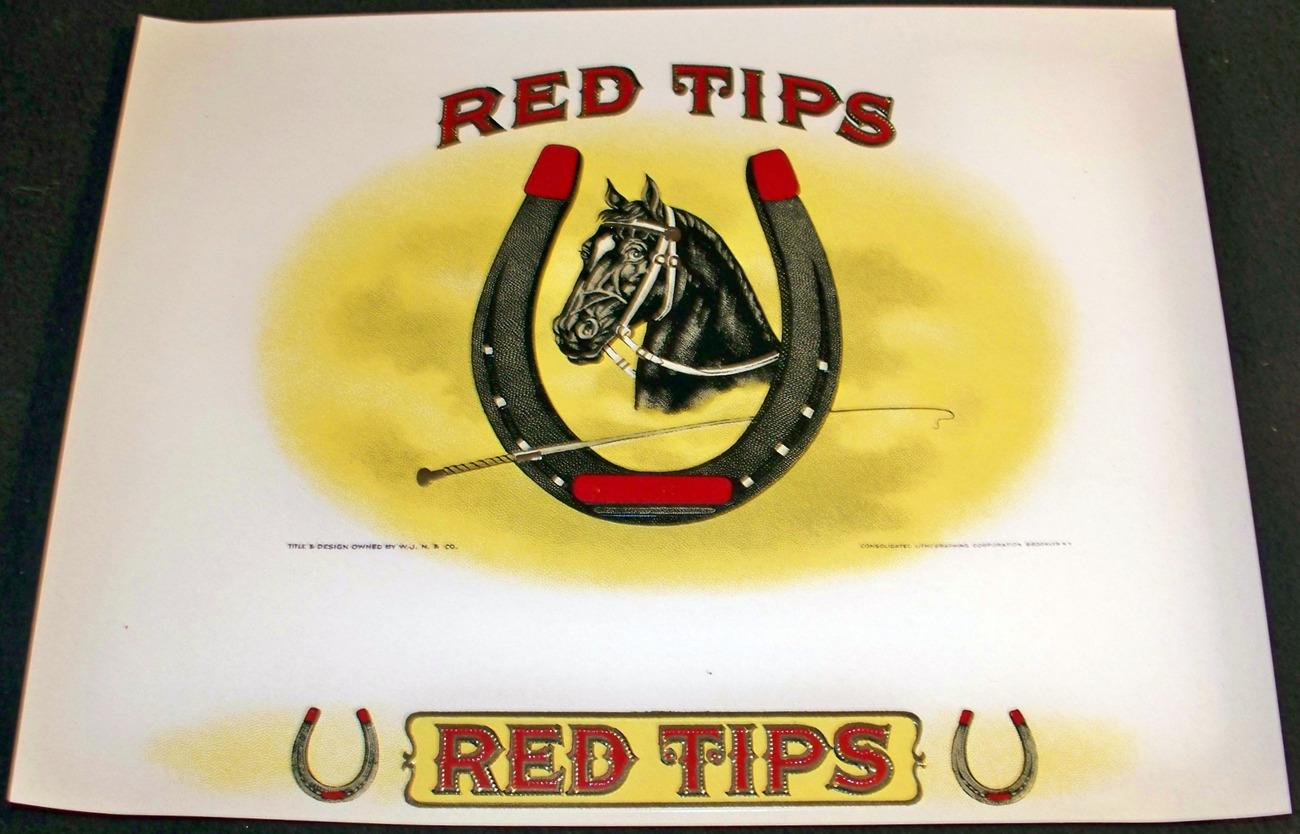 Lucky Horseshoe! Red Tips Embossed Inner Cigar Label, 1920's