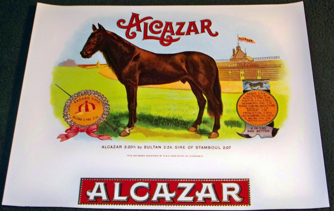 Race Horse! Alcazar Embossed Inner Cigar Label, 1920's
