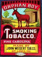 Vintage Orphan Boy Smoking Tobacco Label, 1950's