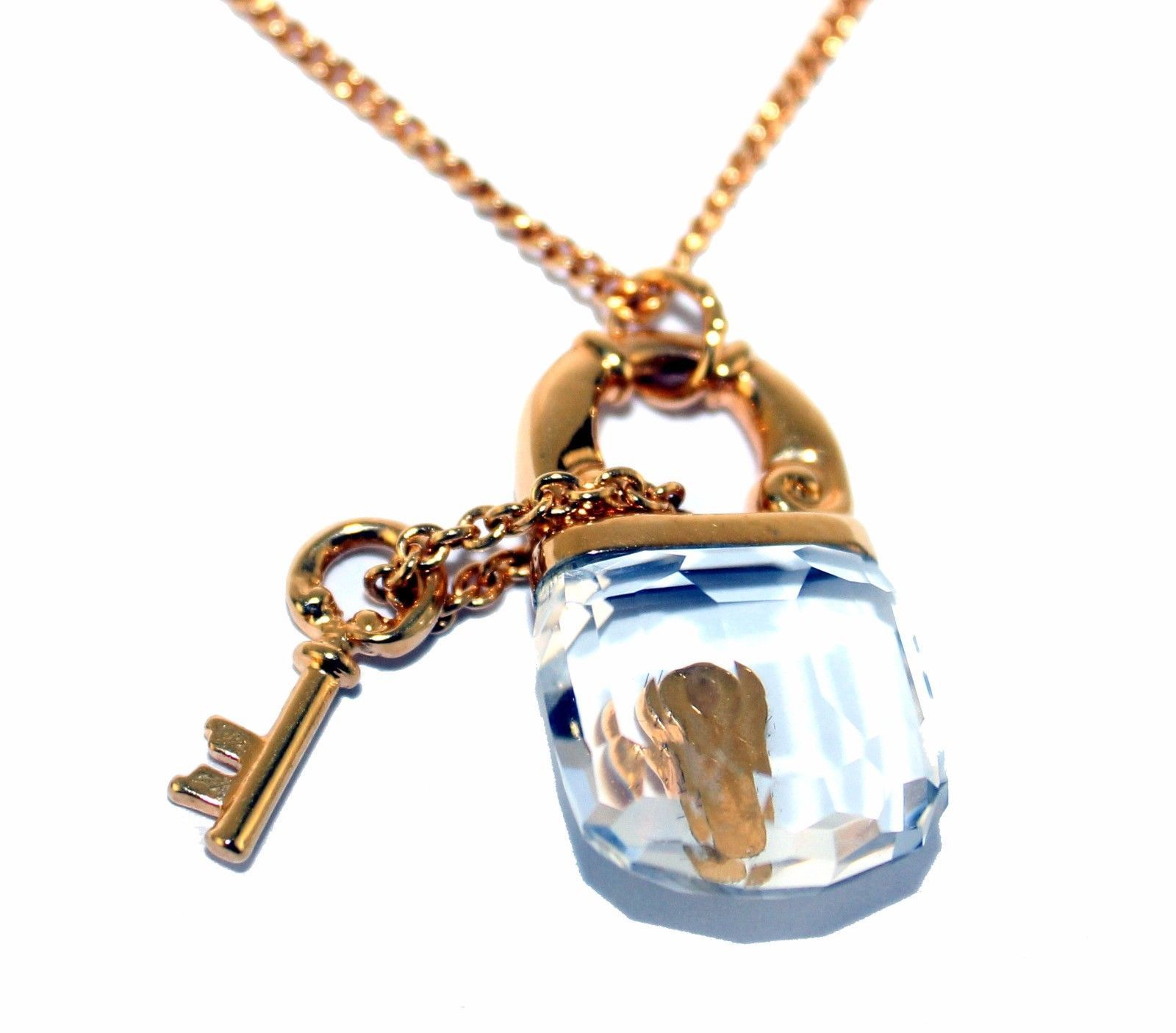 Auth Swarovski Gold Tone & Crystal Lock Pendant Chain Necklace W/ Brooch Unused image 11