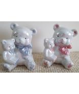 Baby Shower Nursery Decor Boy/Girl Ceramic Teddy Bears Opalescent White Bears - $19.95