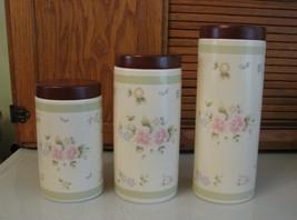 Pfaltzgraff Tea Rose 3 Piece Cylinder Canister Set 9-11-13 Inch RETIRED w Box - $89.09