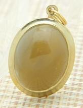 Beige Taupe Agate Gold Tone Pendant Vintage - $24.74