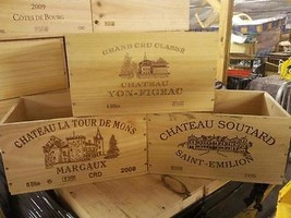 FRENCH CRESTED 6 BOTTLE WOODEN WINE CRATE / BOX OFFICE ARCHIVE STORAGE D... - $17.30