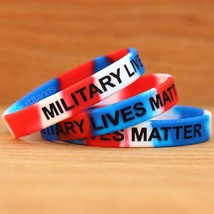 1 Military Lives Matter Debossed Color Filled Wristbands Red White & Blue Band - $1.97