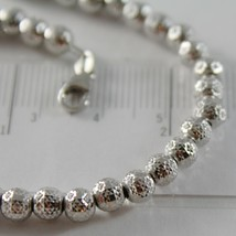 18K WHITE GOLD BRACELET WITH FINELY WORKED SPHERES 5 MM BALLS MADE IN ITALY image 2