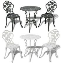 Outdoor Patio Furniture 3pcs Cast Aluminum Bistro Set Antique Rose White... - $124.99+