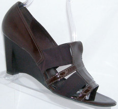 Franco Sarto brown leather slip on open toe elastic stacked wedge heel 10M - $31.47