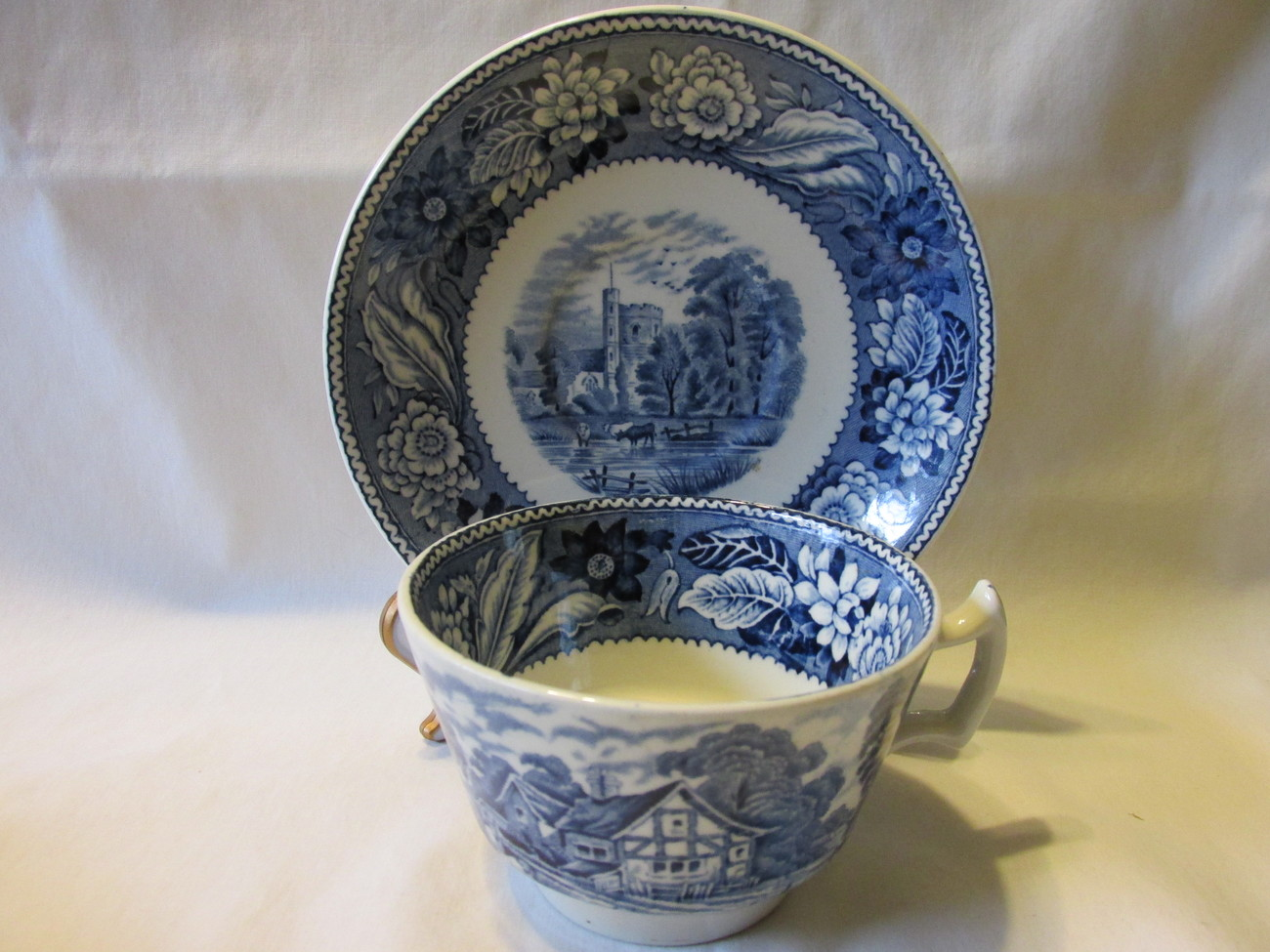 "Primary image for Vintage Wood & Sons English Ironstone Cup and Saucer, ""Woodland"" Pattern - 1950s"