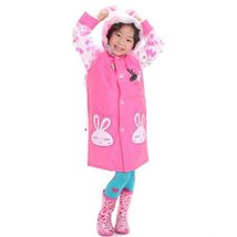 Little Rabbit Cute Baby Rain Jacket Infant Raincoat Toddler Rain Wear PINK S