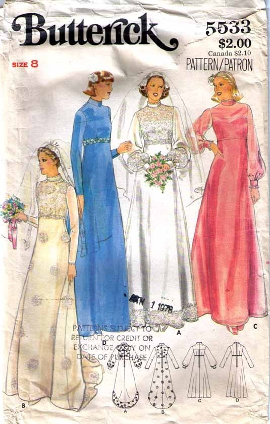Vtg WEDDING GOWN & Bridesmaid DRESS Pattern 5533-b Size 8 - Complete