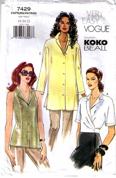 2001 BLOUSE/TOP Pattern 7429-v Sizes 18-22 Koko Beall