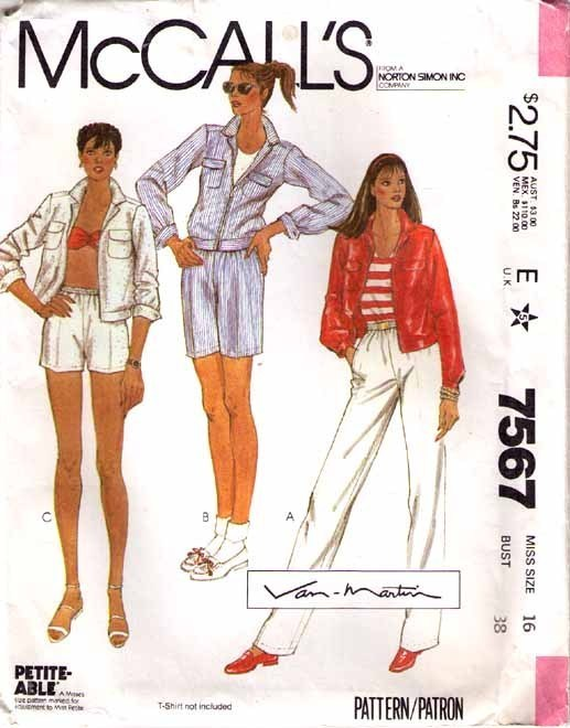 1981 JACKET-PANTS-SHORTS Pattern 7567-m Size 16   UNCUT
