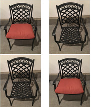 Patio dining chairs set of 4 All-weather outdoor cast aluminum furniture seats image 1