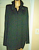 NWT CHICO'S DK CHARCOAL ZIPPER FRONT LONG SLEEVE SWEATER HOODIE Sz CHICO... - $38.69