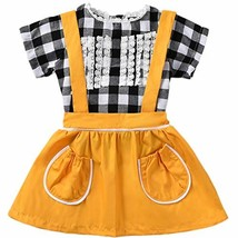 ASTRILL Baby Girls' Short Sleeve Plaid Top and Suspender Skirt Sets Yellow - $11.25