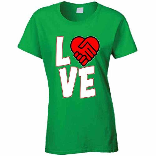 Love is A Deal Heart Ladies T Shirt M Irish Green