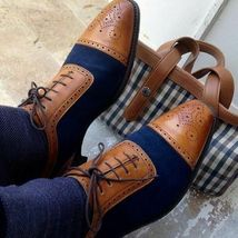 Handmade Men's Brown and Blue Brogues Two Tone Lace Up Dress/Formal Oxford Shoes image 1