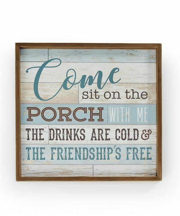 """Framed Blue Wood Panel Porch Wall Sign w Sentiment 18"""" Welcome Friends Gift"""