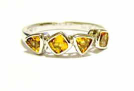 14K White Gold Citrine Cushion & Trillion Band Ring, Size 6.5, 0.96(TCW), 2.6GR - $161.99