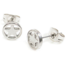 Pair Stainless Steel Silver Star Post Stud Earrings - $163,74 MXN