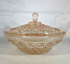 """Indiana Glass Candy Dish & Lid Pink Windsor Button & Cane 5"""" Tall Heavy ... - $9.00"""