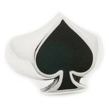 Stainless Steel Black Poker Spade Men Biker Ring US Size 8 - $13.50