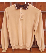 Vtg BRYSON Long Sleeve Shirt-Tan-Collar-Med-Fuzzy-Sportswear-Hippy-Colla... - $42.06