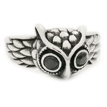 Stainless Steel Cute Owl Black Cubic Zirconia Ring US Size 9 - $13.50