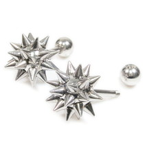 Pair Stainless Steel Silver Color Mace Screw Stud Earrings - $9.50