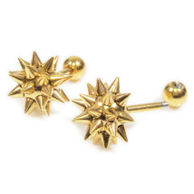 Pair Stainless Steel Gold Color Mace Screw Stud Earrings - $9.80
