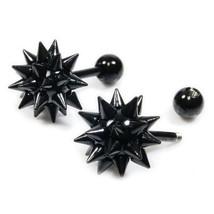 Pair Stainless Steel Black Mace Screw Stud Earrings - $9.80