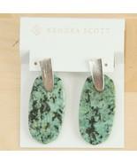Kendra Scott Aragon Rhodium Plated African Turquoise Drop Dangle Earring... - $83.66