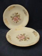 "2 Homer Laughlin Queen Esther 6 1/8"" Saucers Pink Rose Gold Trim Mint  - $4.00"