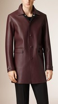 Men Leather Coat Winter Long Leather Coat Genuine Real Leather Trench COAT-UK25 - $214.46