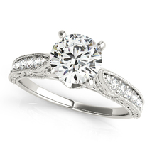 Round Cut Sim Diamond Women's Engagement Ring 14k White Gold Plated 925 ... - $76.95