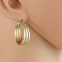 Polished Oval Tri-Color Silver, Gold & Rose Tone Hoop Earrings- United Elegance - $14.99