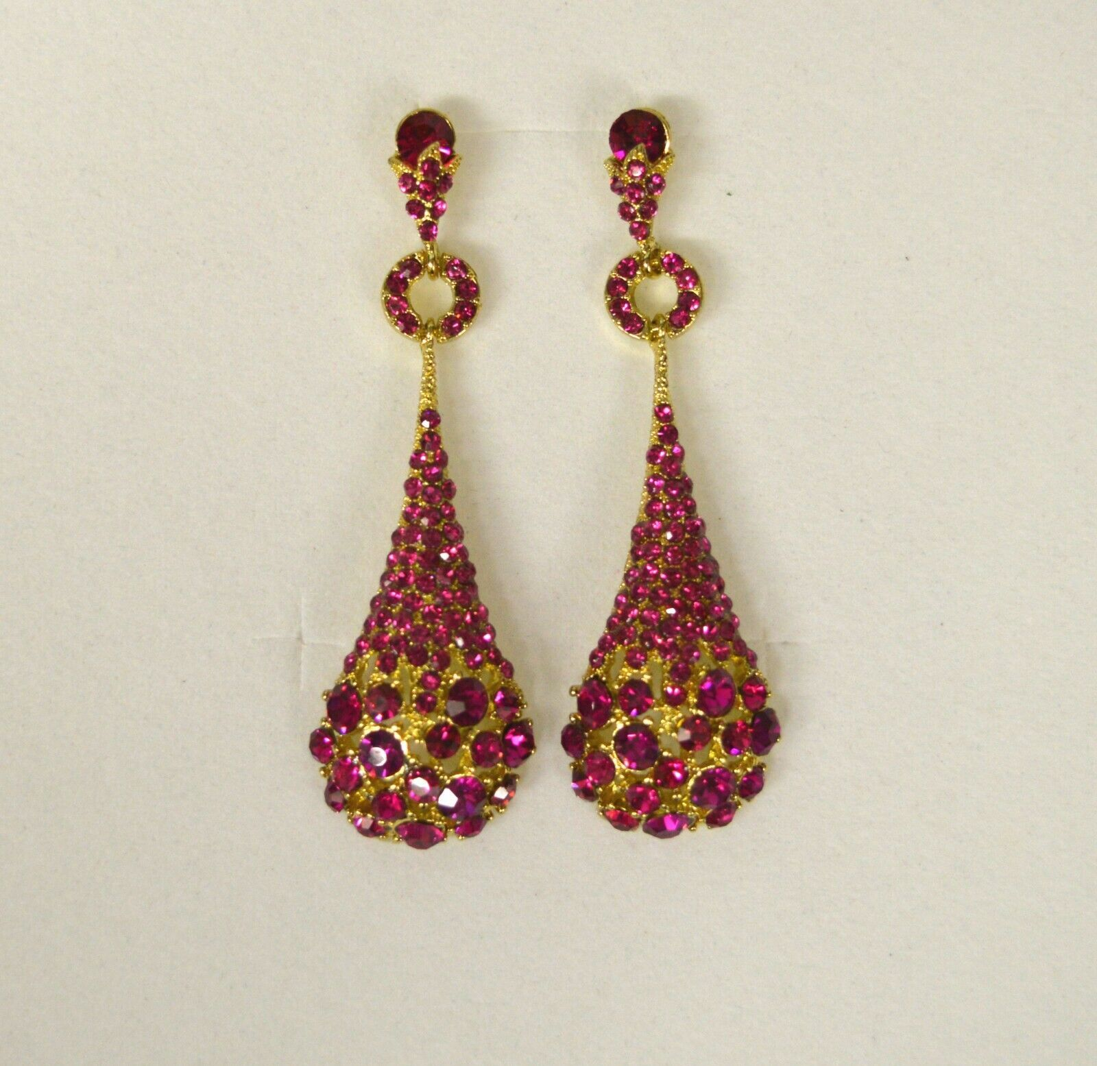 Primary image for STATEMENT GLAM SEXY FAUX CRYSTAL RHINESTONE JEWEL DROP DANGLE EARRINGS PINK
