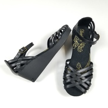 New without box SKECHERS sz 6 leather black buckle open toe wedge sandal - $25.00