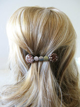 Brown marbled glass w/ copper bronze silver hammered metal hair clip bar... - $16.10