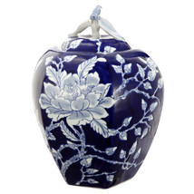 "Blue & White Porcelain Lidded Jar 8""x11.5"" - FD69865 - $59.39"