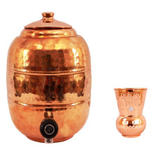 Pure Copper 6.5 ltr. Water Pot Storage Tank With Tap Kitchen Home Garden... - $111.95