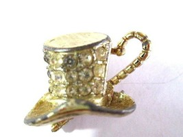 Sarah Coventry Signed Top Hat And Cane Performers Stage Pin Theater Rhinestone - $13.00