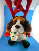 """Christmas Dog with Reindeer Antlers  and Lights by Dan Dee 11"""" + 10"""" ant... - $19.00"""