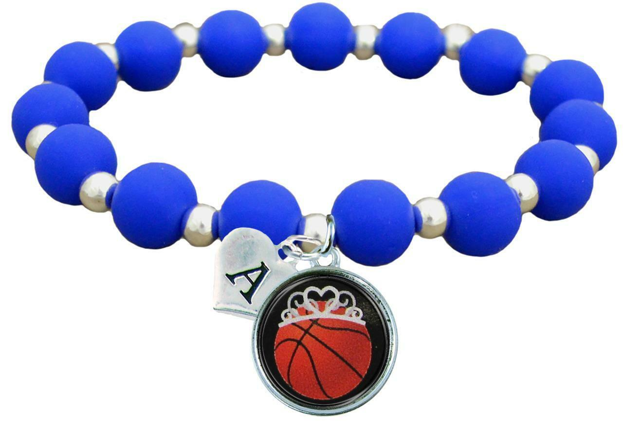 Primary image for Custom Basketball Princess Silicone Stretch Bracelet Choose Initial & Team Color