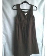 Ann Taylor LOFT Crinkle Dress Size Small Espresso Brown Empire Waist Lac... - $23.51