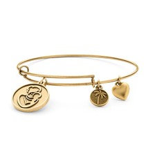 PalmBeach Jewelry Mother Charm Bangle Bracelet in Antique Gold Tone - $17.59