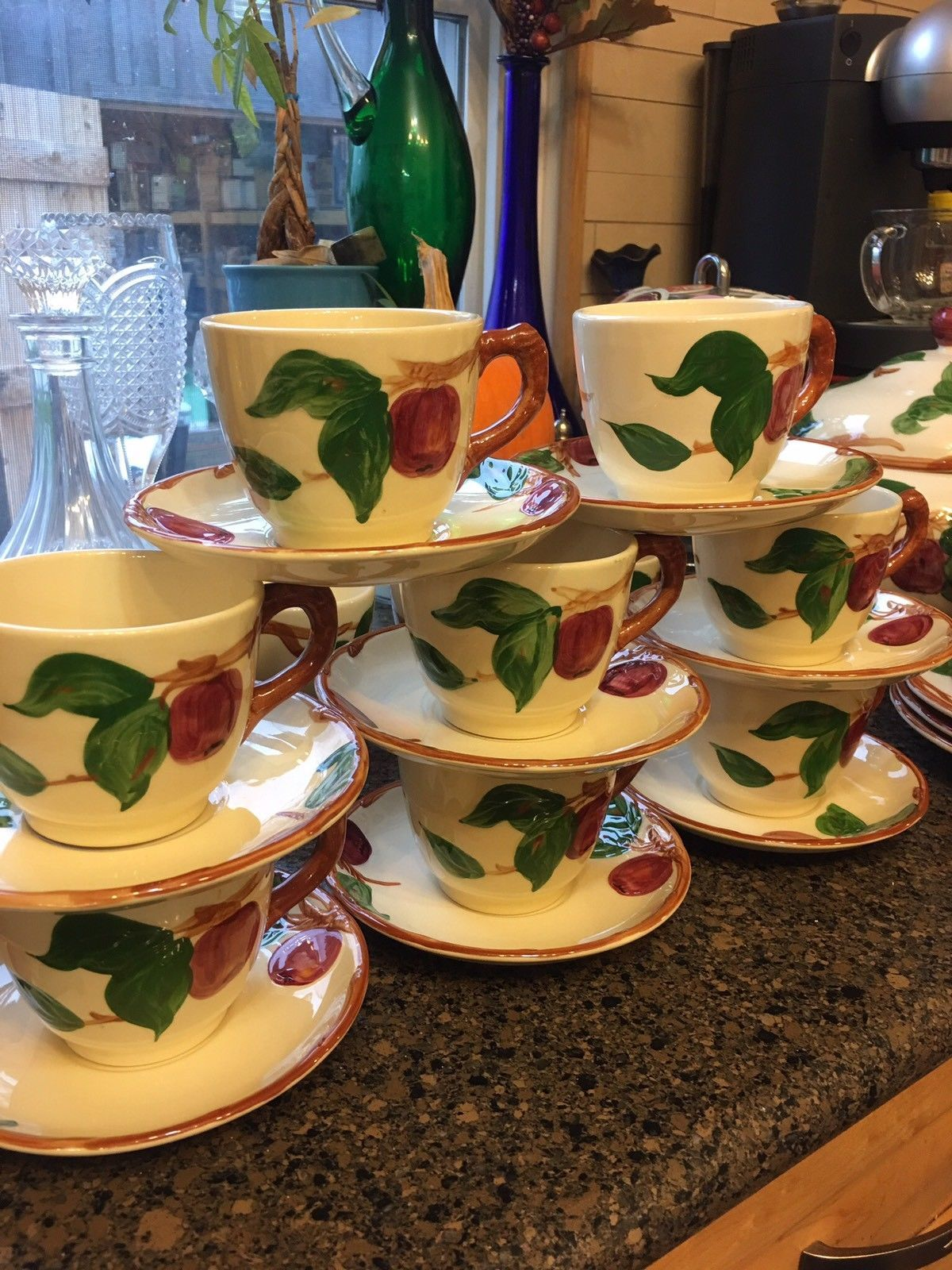 Primary image for 8 Franciscan Apple Tea Cups And Saucers